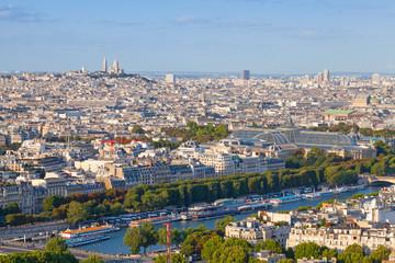 Birds eye view from Eiffel Tower on Paris city