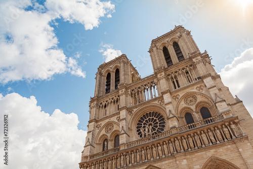 Facade of Notre Dame de Paris cathedral, France - 72326912