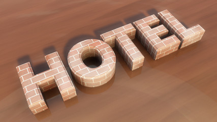 Hotel 3d extrude text and floor