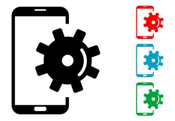 Pictograma configuracion smartphone con varios colores