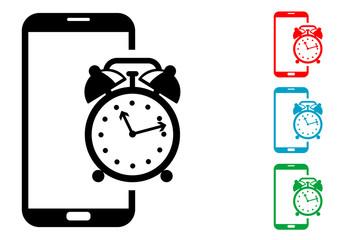 Pictograma despertador smartphone con varios colores