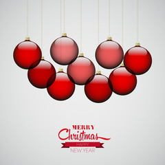 Simple Christmas card with christmas decorations in red color, v