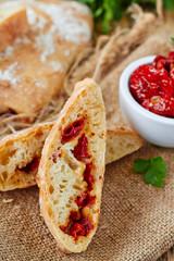 Fresh bread ciabatta with sun dried tomatoes