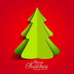 Creative paper Christmas tree on red background. simple vector I