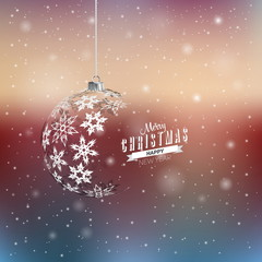 Christmas ball from snowflakes on blurred background, eps 10