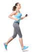 Woman Running with Phone Earbuds Isolated on White Background - 72328366
