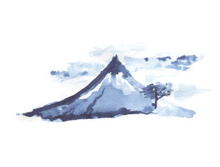 Mountain Fuji, japanese art, vector illustration