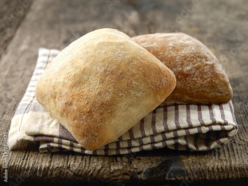 two ciabatta bread buns