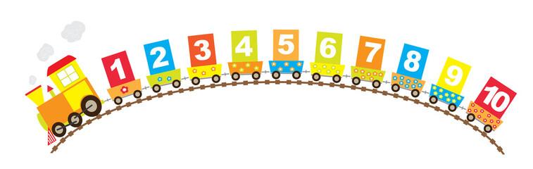 Pociąg z cyframi 1-10, białe tło- wektory