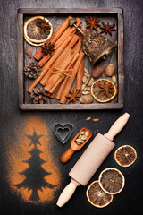 Christmas spices for baking and decoration.