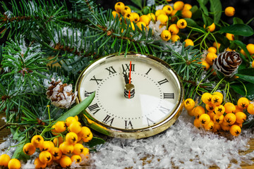 Christmas clock with winter decoration