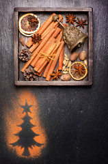Christmas spices and decoration with space for text.