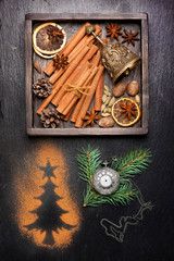 Christmas spices for baking and decoration