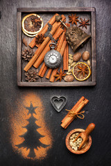 Christmas spices and decoration. Christmas food background
