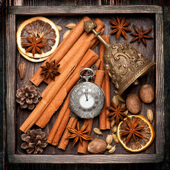 Christmas spices and decoration in vintage box. food background