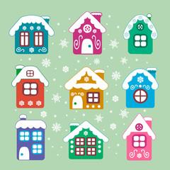 vector christmas houses set