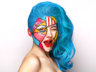 Makeup girl in pop-art style