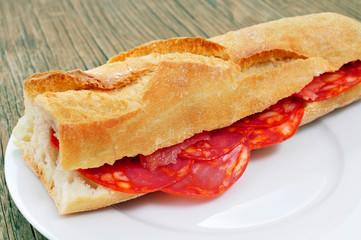 spanish bocadillo de chorizo, a chorizo sandwich