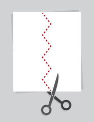 Scissors cutting on a zig zag line