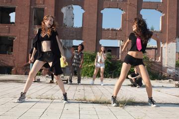 Energetic young hip hop street dancer