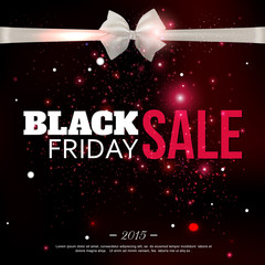 Black friday sale background with photorealistic bow and place