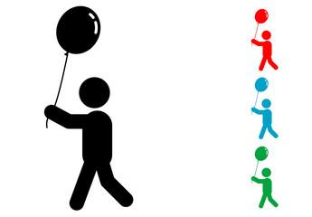 Pictograma niño con globo con varios colores