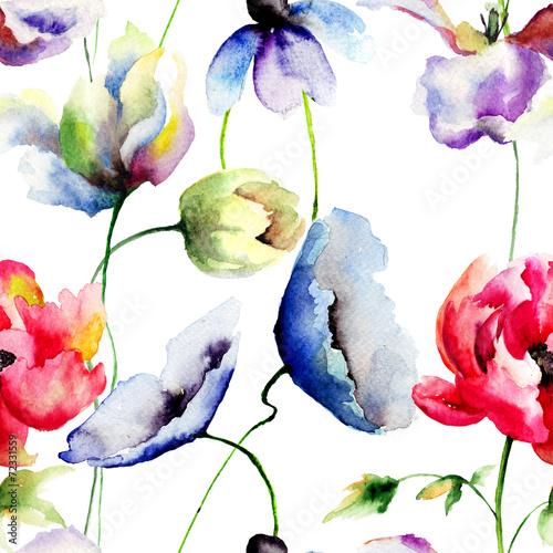 Obraz na Plexi Seamless pattern with wild flowers