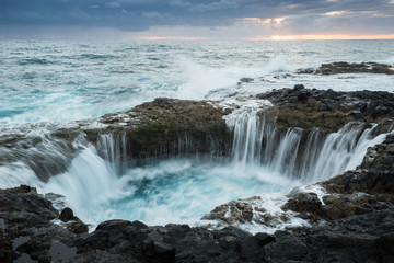 Natural blowhole on the island of Gran Canaria, Spain