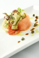 smoked salmon plated starter appetizer