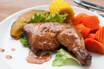 Grilled chicken with black pepper steak.