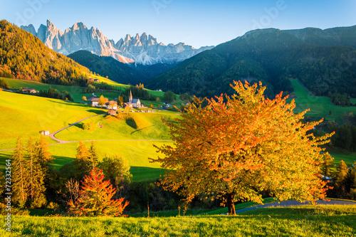 Dolomites Alps, Val di Funes, Autumn landscape - 72332564