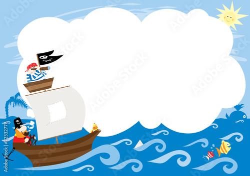 pirates boat and blank space to fill in- vectors for kids - 72332778
