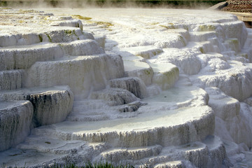 Travertine overflows and lake in the thermal bath Eger. Hungary