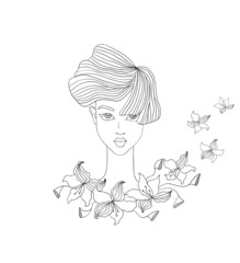 illustration of female face with flowers
