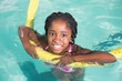 Cute little girl swimming in the pool - 72333123