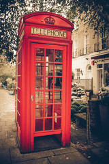 Vintage tone red London telephone booth