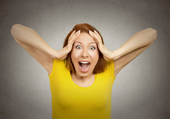 Surprised woman with stunned face expression open mouth