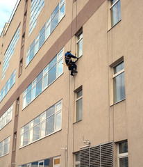 Industrial climber washes windows in tall office building