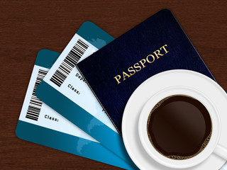 cup of coffee with airplane tickets and passport lying on wooden