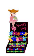 Caja con flores y niña.