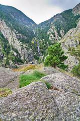 Waterfalls in Vall de Nuria, Pyrenees, Catalonia, Spain