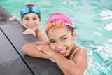 Cute swimming class in the pool - 72334373