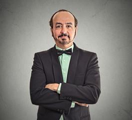 Portrait smiling confident mature balding businessman