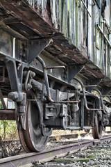 Rusty wheels of abandoned train
