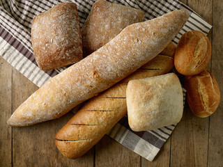 various freshly baked bread buns