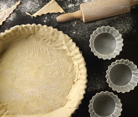 freshly maked dough in a baking tart form
