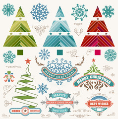 Christmas decoration design elements. Merry Christmas and happy