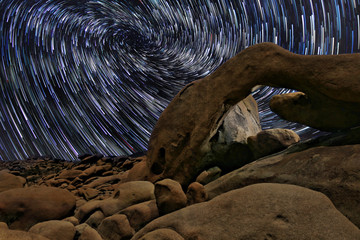 Star Trails in Joshua Tree National Park at the Arch