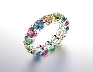 Ring with  different color gemstone. Jewelry background