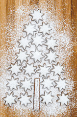 christmas cookies cinnamon stars on wooden background